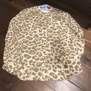 banana republic tan leopard shirt size 10 - EUC